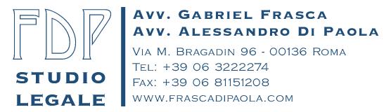 Studio legale -  Law firm - Advokátní kancelář - Avv. Gabriel Frasca - Avv. Alessandro Di Paola
